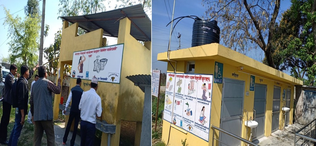 Constructed Child, Gender and Disable friendly toilets in Health Care Facilities with wall painting regarding WASH message